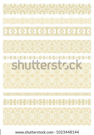 Set of golden vector border ornaments on white background