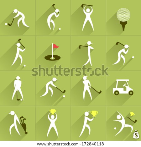 Set of golf club vector logos and sport people positions and communication web Icons - stock vector