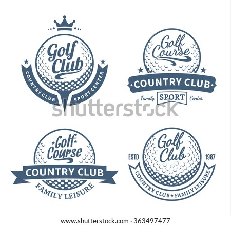 Set of golf country club logo and icons for tournaments, organizations and golf country clubs.