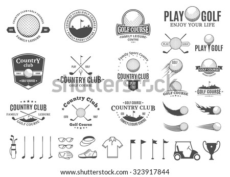 Set of golf country club logo templates. Golf labels with sample text. Golf icons for golf tournaments, organizations and golf country clubs. Vector logotype design.