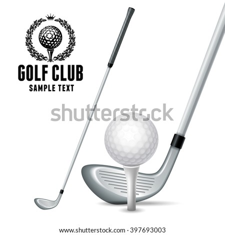 Set of Golf Equipments. White Golf Ball on White Tee and Golf Clubs. Realistic Vector Illustration. Isolated on White Background.