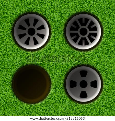 Set of golf holes. Vector illustration.