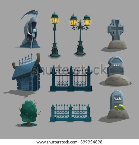 Set of gothic cemetery decorations. Vector illustration. - stock vector