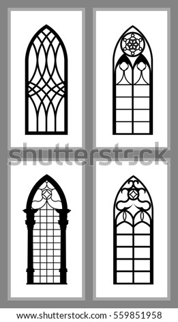 Set Of Gothic Windows Various Designs Isolated On White Background