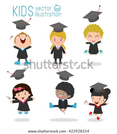 set of Graduation kids, happy child graduates, happy kids jumping, Graduates in gowns and with diploma, students graduation on white background, vector illustration - stock vector