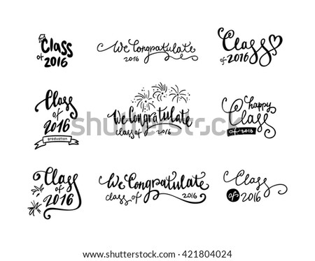 Set of graduation stickers and  labels.Vector badges for graduation event, party, high school or college graduate. Collection decoration labels printable. - stock vector
