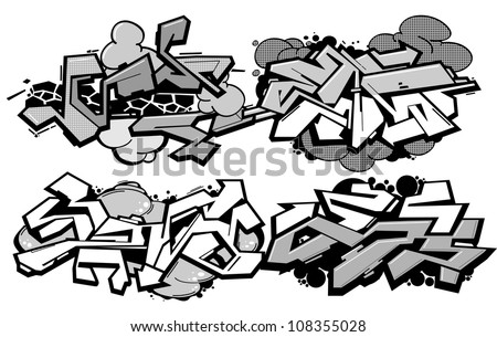 Set of 4 graffiti compositions isolated on white