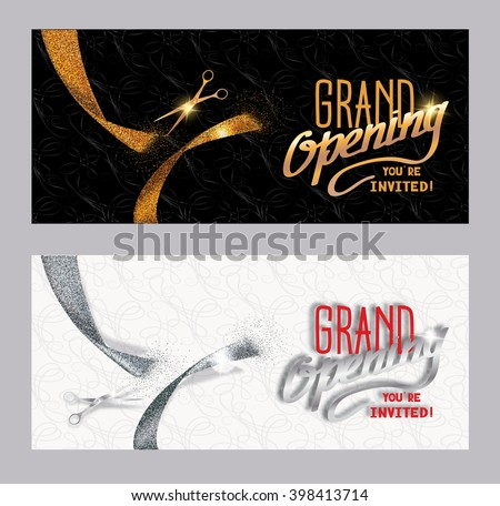 Set of grand opening banners with textured gold and silver cut ribbon - stock vector