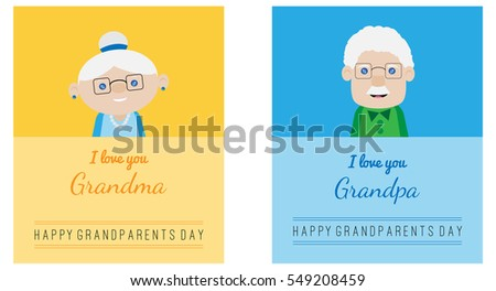 set grandparents day cards cartoon style stock vector 549208459