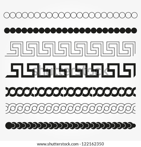 Set of graphic and decor design elements. Vector design borders. - stock vector