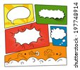 Set of graphic comics speech bubbles, vector templates clouds for text on strip background vector - stock