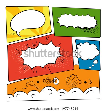 Set of graphic comics speech bubbles, vector templates clouds for text on strip background vector - stock vector