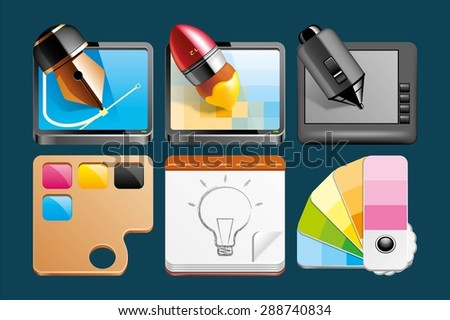 Set of Graphic design icons - stock vector