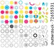 Set of graphic floral elements - stock vector