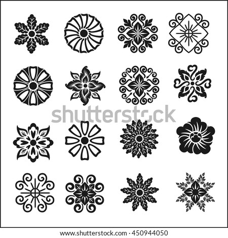 Set of graphic flowers.Vector symbols - stock vector
