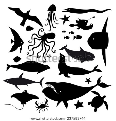 set of graphic marine animals on a white background  - stock vector