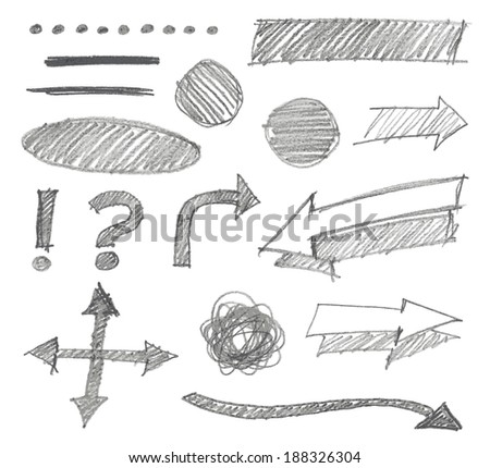 Set of graphic signs. Pencil. Vector illustration. - stock vector