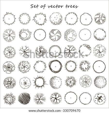 Set of graphic trees, top view, for architecture and landscape - stock vector