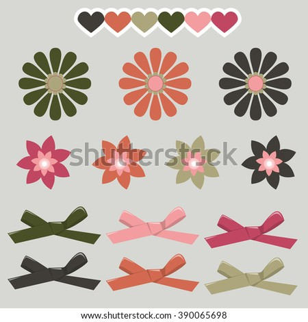 Set of graphical decorative ribbon bows. Bow hearts and simple flowers. Vector decoration graphic isolated simple elements. - stock vector