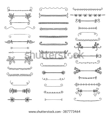set of graphical design elements. Freehand drawing - stock vector