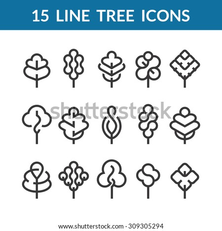 Set of graphical line trees and leaves, outline design collection of nature signs, logos and symbols.  - stock vector
