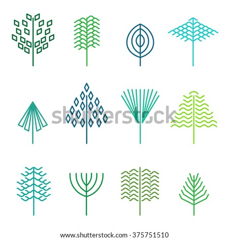 Set of graphical line trees and leaves, signs, logos and symbols. - stock vector
