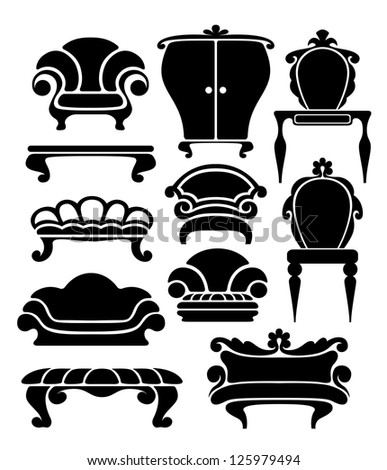Set of graphical retro furniture items - stock vector