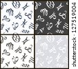 Set of graphical scratched zodiacal seamless patterns - stock vector