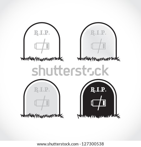 Set of gravestones, rest in peace, dead battery - illustration - stock vector