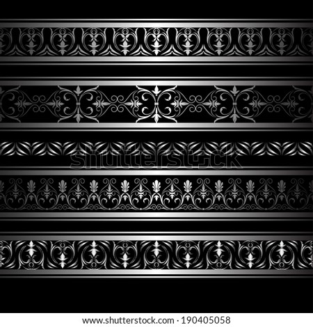 Set of gray horizontal ornamental borders for your design