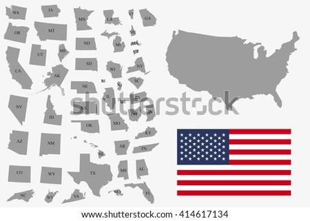 Set  of gray USA states on white background - vector illustration. Simple flat map - United States. USA flag, general map and all states individually. - stock vector
