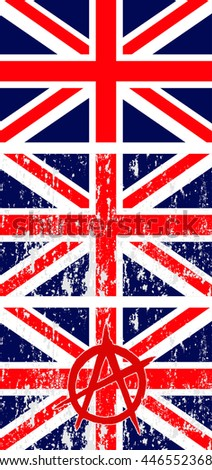 Set of Great Britain flags, plain and grunge with anarchy sign. Vector image - stock vector
