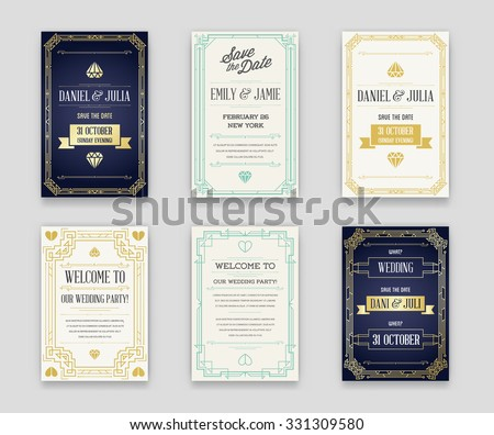 Set of Great Quality Style Invitation in Art Deco or Nouveau Epoch 1920's Gangster Era Collection Vector - stock vector