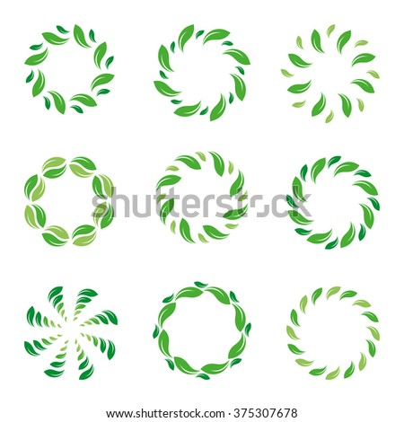 Set of green abstract vector logos. Round symbols. Circular shapes. Spinning spirals. Hypnotic logo elements. Organic signs. Eco labels. Natural icons. Air conditioning icons. Ventilator logo element. - stock vector