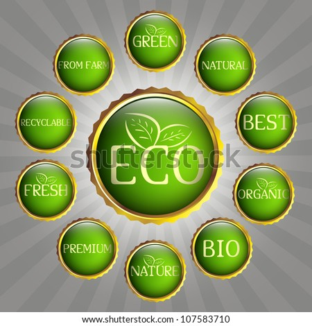 Set of green and gold badges. Eco, green and natural theme - stock vector