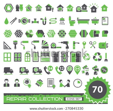set of green and gray repair icons - stock vector