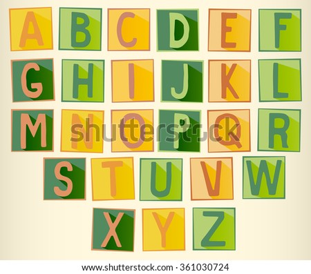 Set of green and orange uppercase  alphabet letters on square with frame
