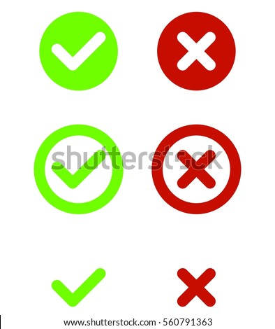 Set Green Red Check Ma...X And Check Icon