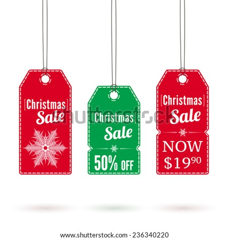 Set of green and red Christmas label tags for sale and advertising. Vector illustration.