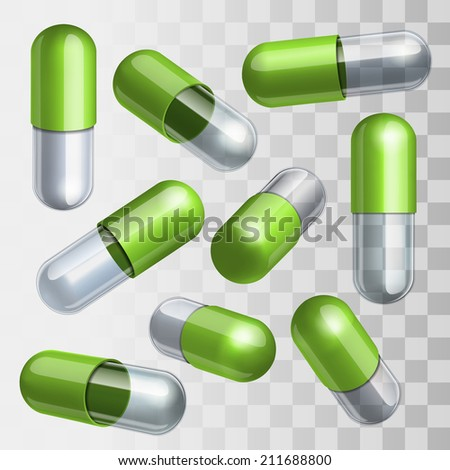 Set of green and transparent medical capsules in different positions Vector illustration - stock vector