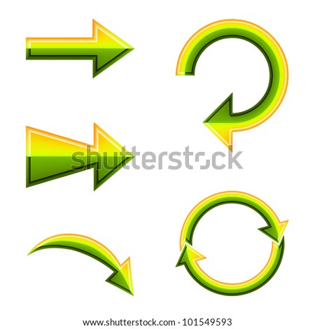 Set of green and yellow arrows vector