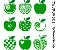 set of green apple icon isolated on white background. Vector illustration - stock vector