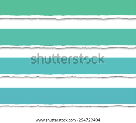 Set of 4 green banners of Torn paper pieces. Vector EPS10 illustration. Design elements - paper with ripped edges - stock vector