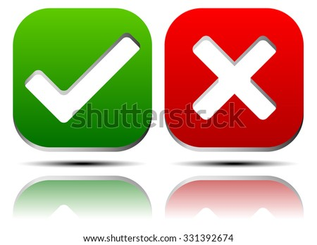 Set of green check-marks, ticks and red crosses  - stock vector