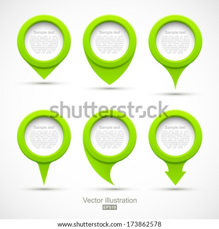 Set of green circle pointers 3D. - stock vector