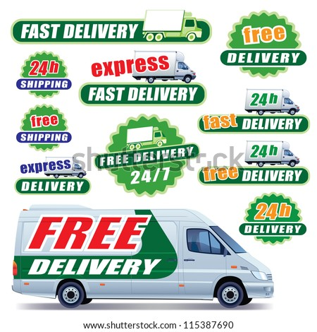 Set of green delivery signs with trucks and labels - stock vector