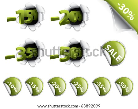 Set of green discount stickers, corners, 3d tags - stock vector