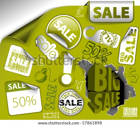 Set of green discount tickets, labels, stamps, stickers, corners, tags (vector) - stock vector