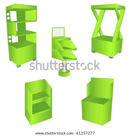 set of 5 green display. vector illustration - stock vector
