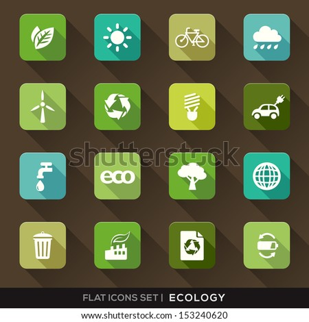 Set of Green Ecology Flat Icons with long shadow - stock vector